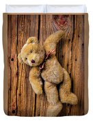 Old Teddy Bear Hanging On The Door Duvet Cover