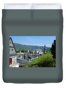 old town walls and church and buildings of Cochem Duvet Cover