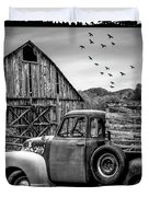 Old Truck At The Barn Bordered Black And White Duvet Cover