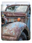 Old Vintage Blue Pickup Truck Among The Weeds Duvet Cover
