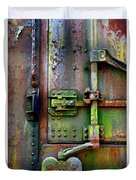 Old Weathered Railroad Boxcar Door Duvet Cover