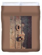 Old Wooden Door And Keyhole Duvet Cover