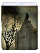 Ominous Clouds Surround Crow Duvet Cover