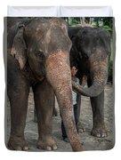 One Man, Two Elephants Duvet Cover