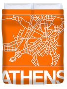 Orange Map Of Athens Duvet Cover
