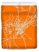 Orange Map Of Cairo Duvet Cover