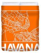 Orange Map Of Havana Duvet Cover