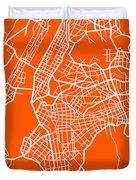Orange Map Of New York Duvet Cover