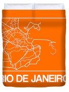 Orange Map Of Rio De Janeiro Duvet Cover