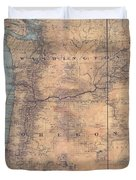Oregon Washington Historic Map Colton Sepia Map Hand Painted Duvet Cover