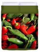 Organic Red And Green Peppers Duvet Cover