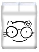 Original Sumi-e Painting Of Kawaii Cute Nerd Hello Kitty In Oversized Spectacles Duvet Cover