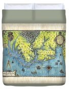 Outer Banks Historic Antique Map Hand Painted Duvet Cover