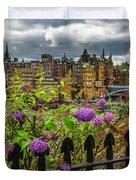Overlooking The Train Station In Edinburgh Duvet Cover