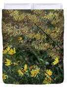 Painted Fall Flowers Duvet Cover