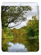 Painted Fall On The Back Pond Duvet Cover