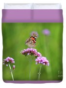 Painted Lady Butterfly In Green Field Duvet Cover