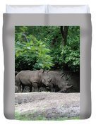 Pair Of Rhinos Standing In The Shade Of Trees Duvet Cover