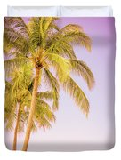 Palm Trees And Pink Sky Duvet Cover