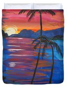 Palm Trees And Water Duvet Cover