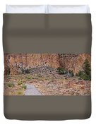 Panorama Of Ancient Tyuonyi Pueblo Dwellings At Bandelier National Monument - Los Alamos New Mexico Duvet Cover