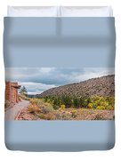 Panorama Of Cliff Dwelling And Fall Cottonwoods In Frijoles Canyon - Bandelier National Monument  Duvet Cover