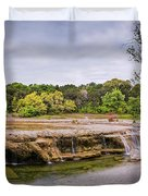 Panorama Of Link Falls At Upper Bull Creek District Greenbelt Park - Austin Texas Hill Country Duvet Cover