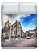 panorama of The Cathedral of Dublin Duvet Cover by Ariadna De Raadt