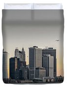 Panoramic View Of Manhattan Island And The Brooklyn Bridge At Su Duvet Cover