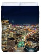 Panoramic View Of The Boston Night Life Duvet Cover