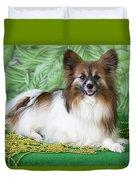 Papillon On Green Duvet Cover