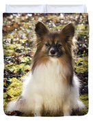 Papillon Sitting In Leaves Duvet Cover