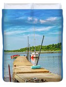 Paradise Sailing Day In Maine Duvet Cover
