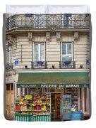 Paris Corner Grocery Duvet Cover by Brian Jannsen