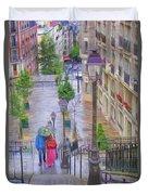 Paris Sous La Pluie Duvet Cover