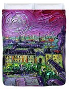 Paris View With Gargoyles Diptych Oil Painting Right Panel Duvet Cover