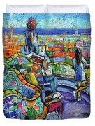 Park Guell Enchanted Visitors - Impasto Palette Knife Stylized Cityscape Duvet Cover