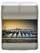 Parked Gondolas, Early Morning In Venice, Italy.  Duvet Cover