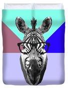 Party Zebra In Glasses Duvet Cover