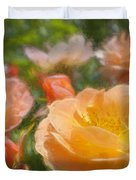 Peach Yellow Roses Duvet Cover