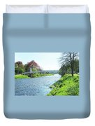 pedestrian bridge over river Tweed at Peebles Duvet Cover