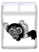 Peeking Lemur - Ink Illustration Duvet Cover