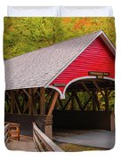 Pemigewasset River Covered Bridge Duvet Cover by James Billings