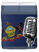 Pennsylvania Flag And Microphone Duvet Cover