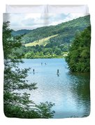 People Use Stand-up Paddleboards On Lake Habeeb At Rocky Gap Sta Duvet Cover