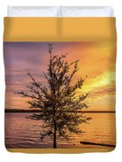Percy Priest Lake Sunset Young Tree Duvet Cover