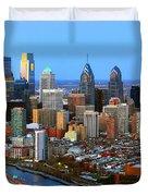 Philadelphia Skyline At Dusk 2018 Duvet Cover