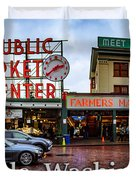 Pikes Place Public Market Center Seattle Washington Duvet Cover