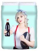 Pin-up Girl Holding Soft Drink Bottle Duvet Cover