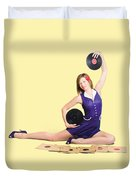 Pin-up Woman Balancing Sound With Record Music Duvet Cover